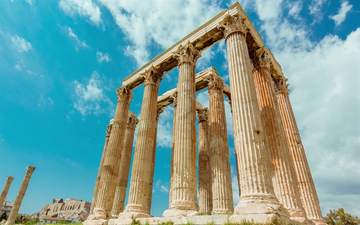 Download wallpapers Temple of Olympian Zeus, 4k, Athens, ruins, Greek columns, sights, Greece
