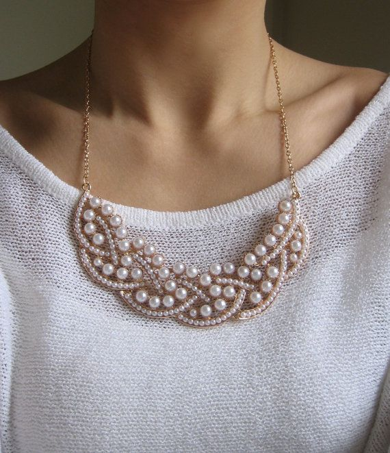 Pearl Statement Necklace by SOPRIA on Etsy, $25.00 @Polly Davis Arens What do you think?
