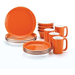 Rachael Ray 16-piece Round and Square Orange Dinnerware Set.  I would really love to buy this!