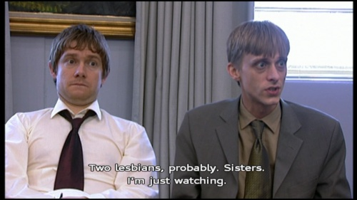 Tim Canterbury & Gareth Keenan (The Office UK) I'm not sure if this is so scene funny to me because of Gareth's fantasy or Tim's facial expression.
