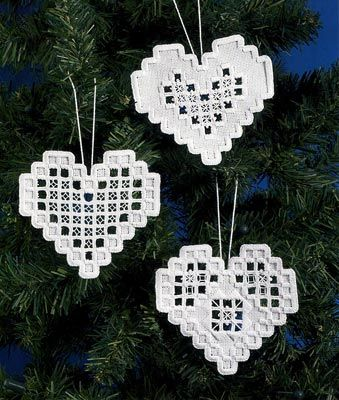 See the pretty Hardanger Heart Ornaments kit - White at Nordic Needle