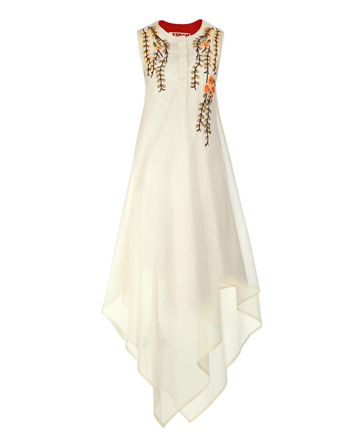 Samant Chauhan Off White Asymmetric Dress with Floral Embroidery