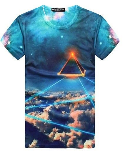 EAST KNITTING WY-099 Autumn summer clothes for Men 2013 new tops Galaxy printed short sleeve t shirts free shipping $11.11