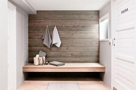 Moderniin tyyliin saunan vilvoittelu- ja pukeutumistila
