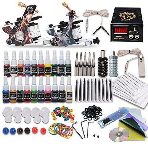 Complete Tattoo Kit 2 Machine Tattoo Gun Power Supply Nee...