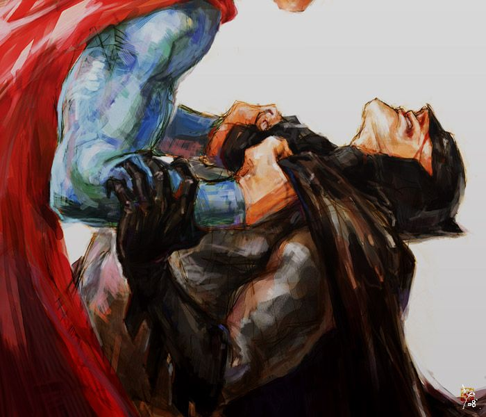 Superman beating the ish out of Batman.