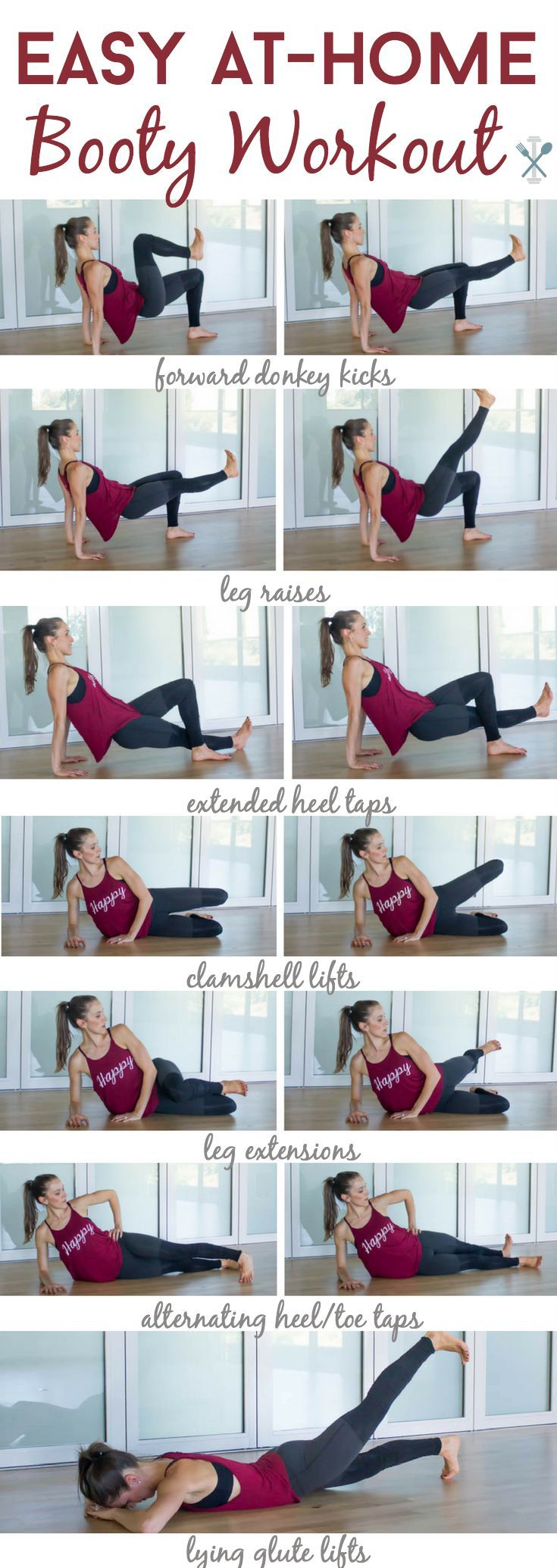 Getting a perky booty doesn't have to be hard with this easy, at-home booty workout. No squats and no gym required! A ton of creative barre-inspired moves you can to any where, any time