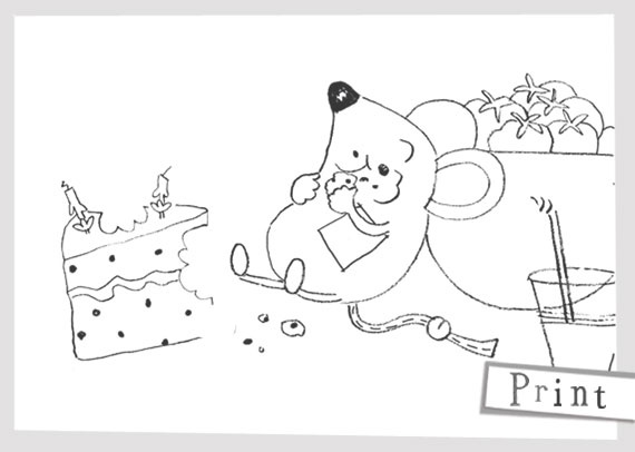 Mousey has eaten toooo much cake.    www.emilybutton.co.uk