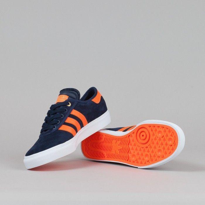 Adidas X The Hundreds Adi-Ease Shoes - Collegiate Navy / Orange / White   Flatspot - mens walking shoes, boot shoes mens, shoes online mens
