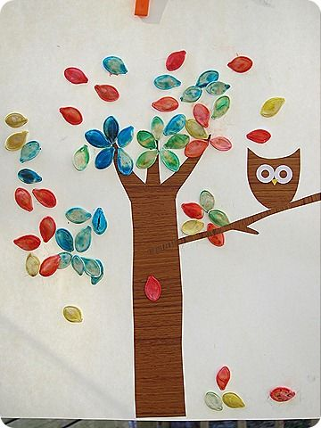 Pumpkin seeds and owls!  Cute Fall craft!