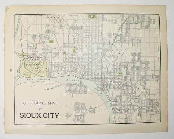 Real Vintage Map Of Sioux City Ia And Council Bluffs 1900 Cram