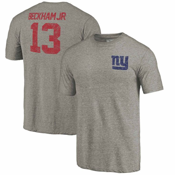 Odell Beckham Jr New York Giants NFL Pro Line by Fanatics Branded Icon Tri-Blend Player Name & Number T-Shirt - Heathered Gray