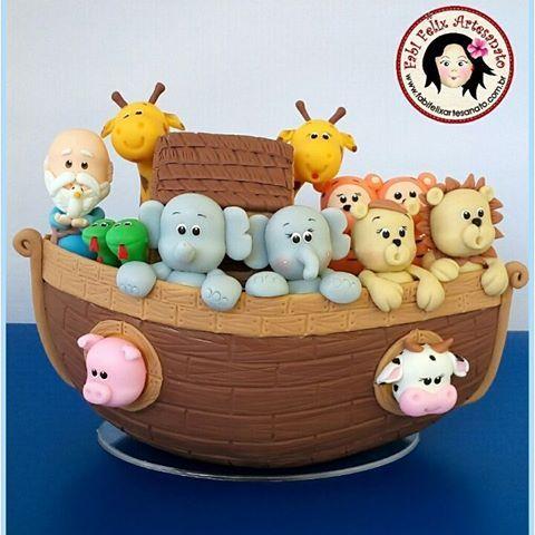 Topo de Bolo arca de Noé #biscuit #biscuitrecife #biscuitcabodesantoagostinho #fabifelixartesanato #arcadenoe #arcadenoébiscuit