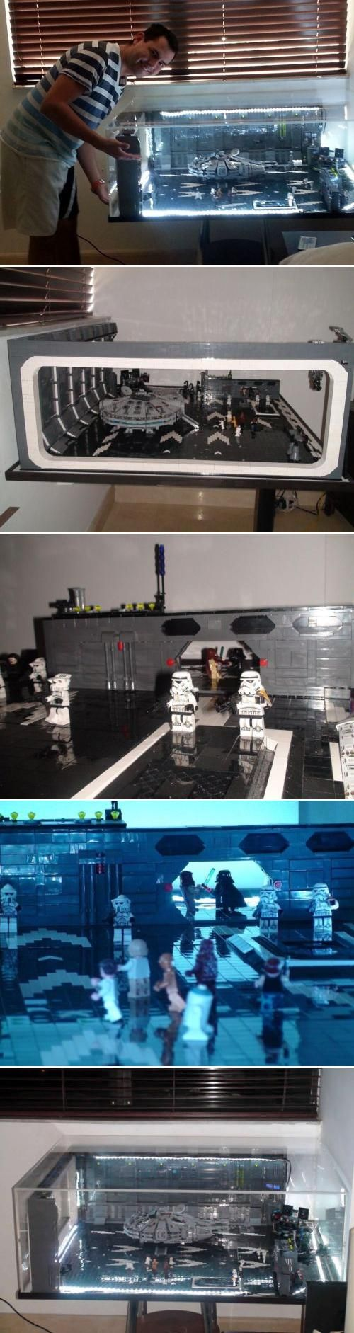 "Five months in the making, this amazing LEGO creation is made with over 10,000 bricks. Based on the Hangar 327 Escape scene from Star Wars, Episode IV, ""A New Hope"", it comes with 19 mini-figures, the Millennial Falcon, and a custom made display table. Is your set complete without it?"