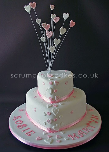 www.scrumptiousca… (471) – 2 tier engagement cake with pink and white hearts a… – foods