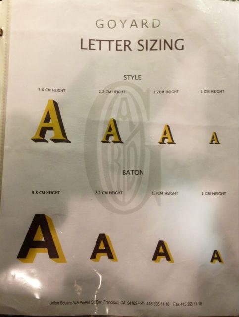 Goyard letter sizing