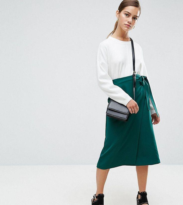 ASOS PETITE Tailored Midi Simple Wrap - Green