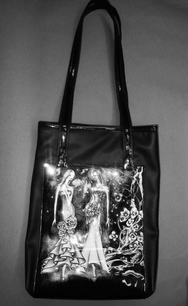 """BLACK TOTE leather handbag--LeDiMarco Shop/laptop/shoulder bag """"Avalon Nights"""" MEDIUM"""