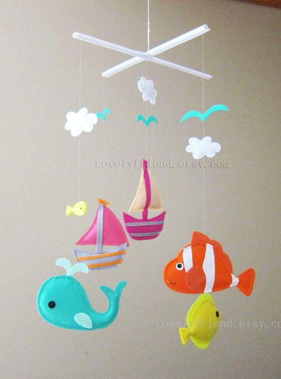 "Baby Mobile - Baby Crib Mobile - Mobile - Crib mobiles - Felt Animal Mobile - "" yellow fish, nemo, whale, sailboats, clouds, seagulls"""