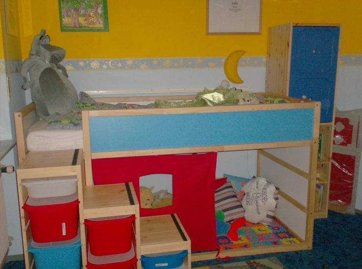 a loft bed with stairs...all ikea...just add a railing of some sort to the stairs, and it'll be perfect :)