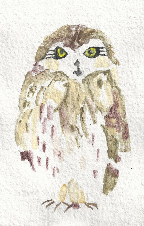 Owl Painting Watercolor 8 x 10 Print