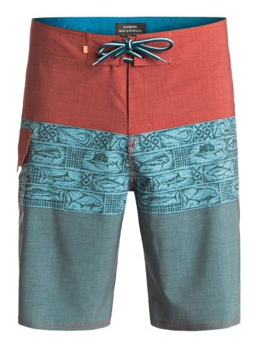 Quiksilver Mens Waterman Fairway Tri Block 20' Board Shorts, Men's, Size: 38, Grey