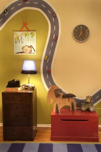 kinda like this idea but in trevs bed set colors with the road swerving around the room: The Roads, Plays Rooms, Boys Rooms, Magnets Paintings, Magnetic Paint, Playrooms, Cool Ideas, Little Boys, Kids Rooms