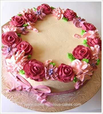 shades of pink roses cake