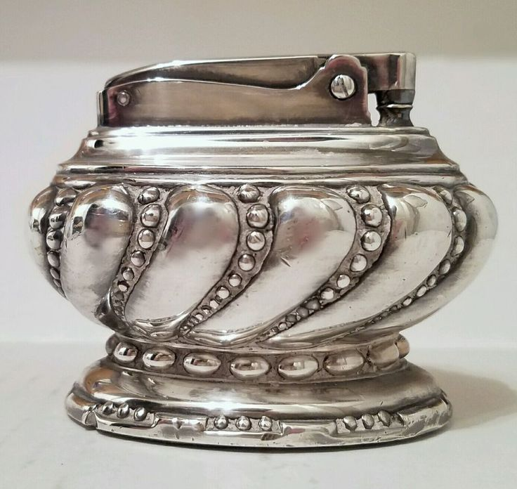 "VINTAGE RONSON ""CROWN"" TABLE LIGHTER SILVERPLATE  