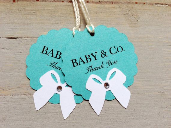 Baby and Co. Tiffany blue Baby Shower favor tags by papermeblossom, $12.00