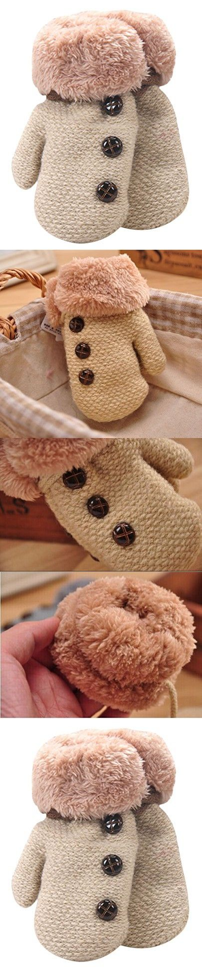 TagoWell Baby Boys Toddler Warm Thick Button Knitted Gloves Mittens With String Beige
