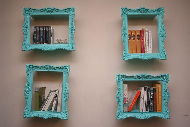 Would do different frames but this is a cool. Book shelves made from antique picture frames.