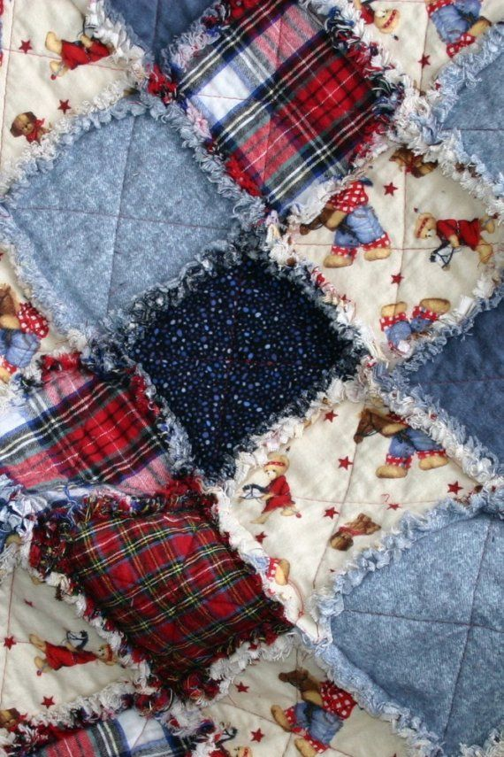 Flannel Rag Quilt Cowboy Motif Red Blue Plaid by Northernlodge