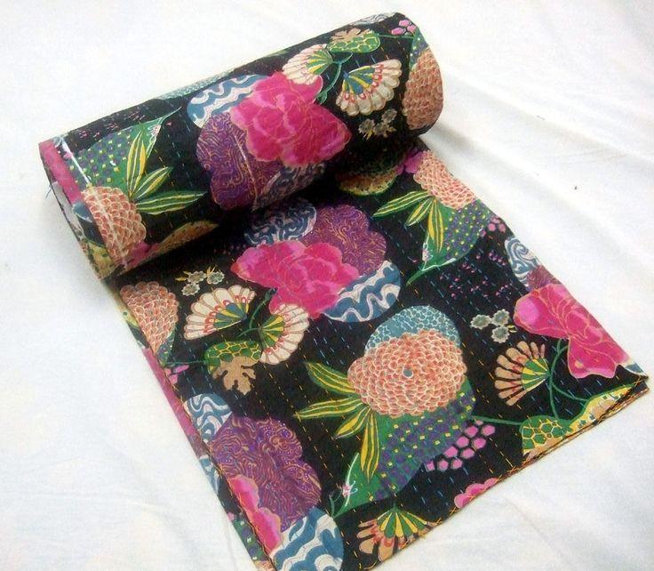 Vintage Kantha fruit print Bedspread Reversible Bed Cover Cotton Throw Blanket  #Unbranded #ArtDecoStyle
