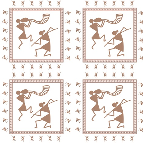 Warli celebration fabric by warliart on Spoonflower - custom fabric