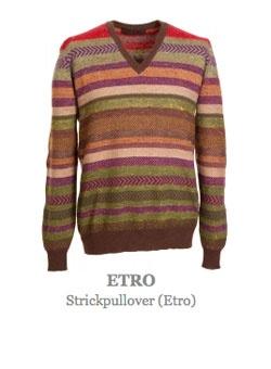 Pullover vom Luxusmodelable Etro. Stylischer Pulli aus feinstem Strick gefertigt. Besonders dünne Qualität und dadurch sehr angenehm zu tragen. Kragen und Bünde sind aus kontrastfärbigem Stoff gefertigt. Im modischen Streifenmuster mit weitem V-Ausschnitt. Material: 100% Wolle