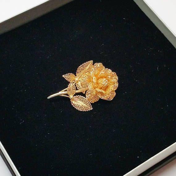 Brosche 835 Silber vergoldet filigran Blume Handarbeit SB214