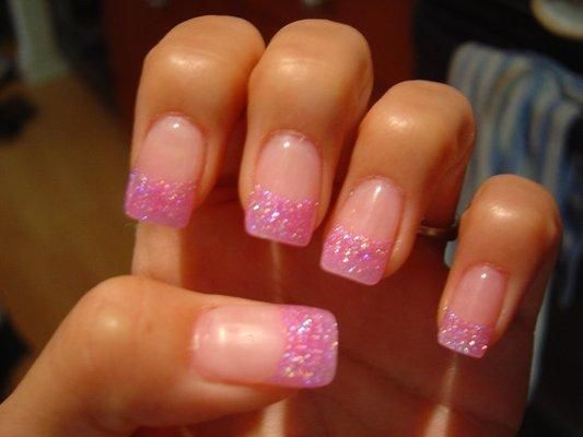 french manicure with pink glitter tips - Google Search