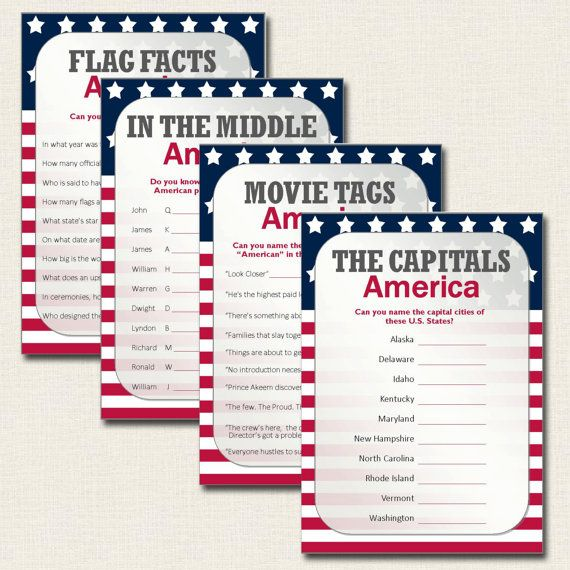 Have fun with this set of four quiz cards based around fun and interesting facts about America. They are ideal for any 4th July, Flag Day or Thanksgiving celebrations. Or simply challenge yourself to see how much you really know about the Star Spangled Banner, Presidents, States and American movies.  ~ ~ ~ INCLUDED IN THE PACK ~ ~ ~  THE CAPITALS Do you know the capital cities of these 10 states? IN THE MIDDLE What are the middle names of these 10 American presidents? FLAG FACTS How much do…