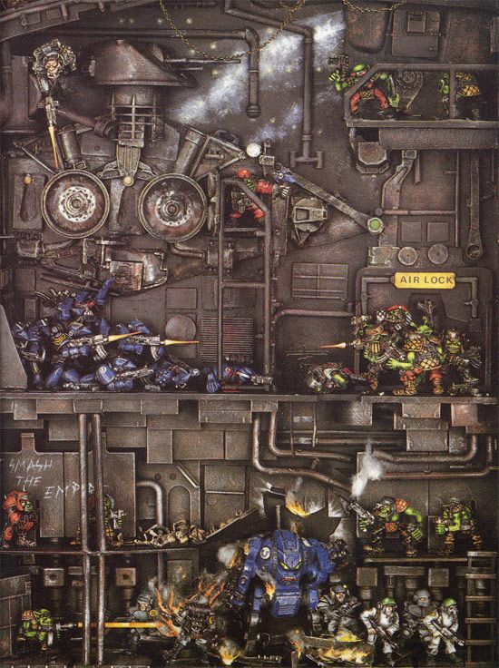 warhammer 40k space marine diorama. This brings back memories. The picture is from the very first Warhammer 40K rule book. Ah nostalgia.