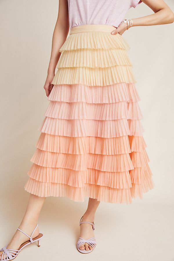 a81f637a0d Villa Tiered Midi Skirt in 2019 | Skirts | Fashion, Fashion outfits ...