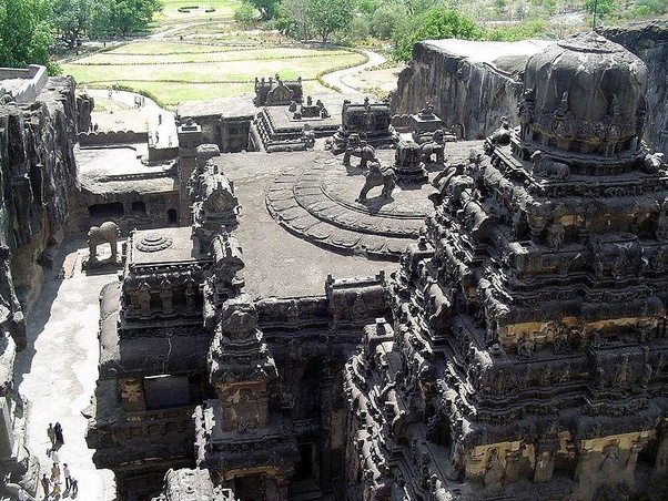 the Kailas temple in Ellora which is the world's largest temple cut out of a single piece of rock.