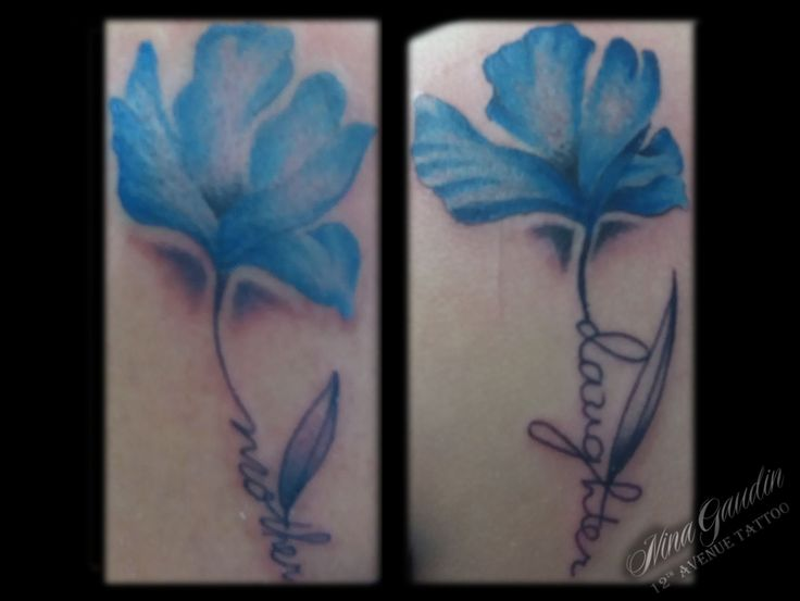 Mother Daughter Blue Flowers With Words Matching Back Shoulder Color