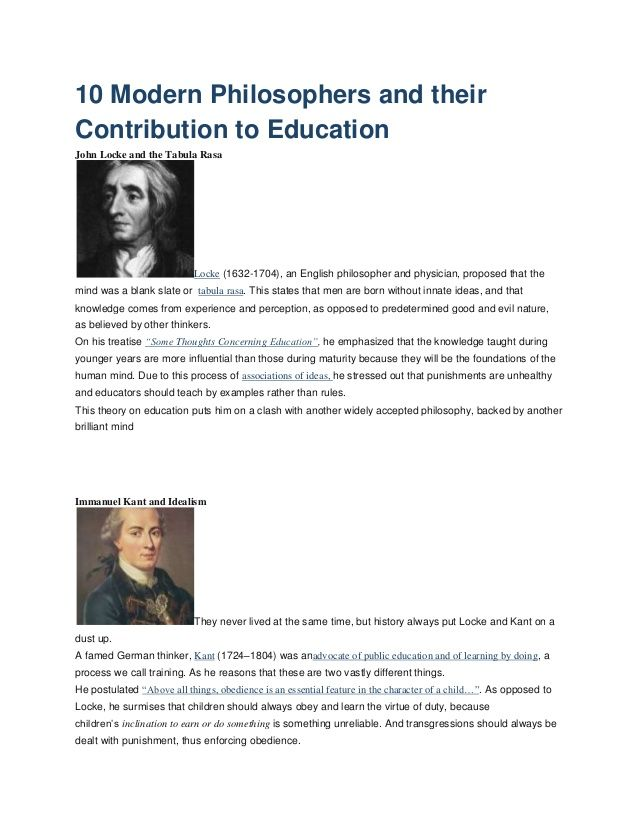 10 modern philosophers and their contribution to education