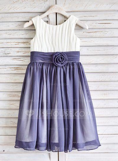 [US$ 57.99] A-Line/Princess Tea-length Flower Girl Dress - Chiffon Sleeveless Scoop Neck With Flower(s) (010091383)