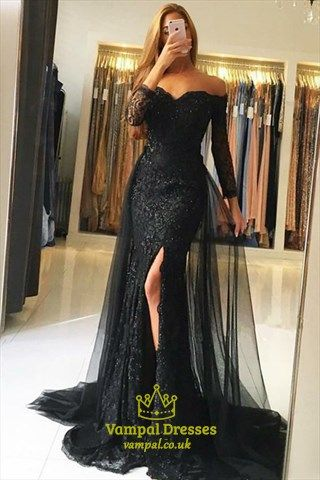 fbd8853e78eb Black Off Shoulder Long Sleeve Lace Applique Tulle Overlay Prom Dress