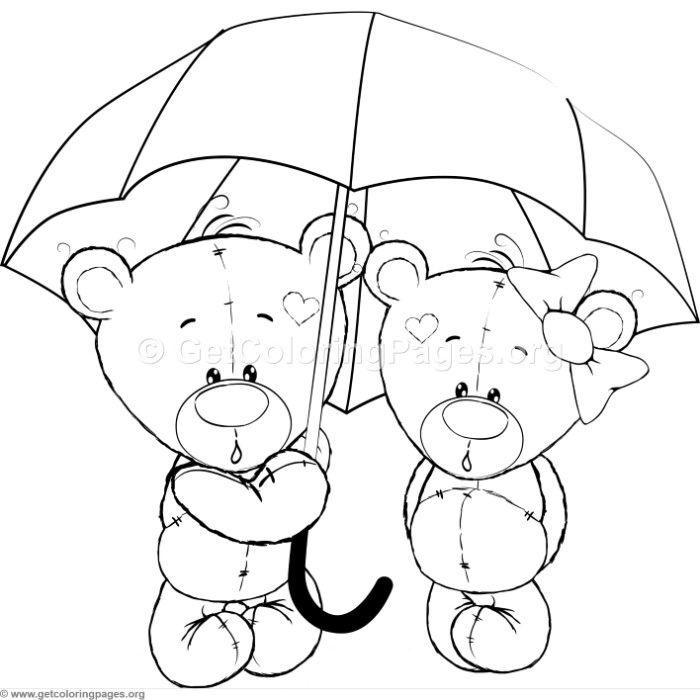 Cartoon Animal Romantic Bears Couple in Love Holding an ...