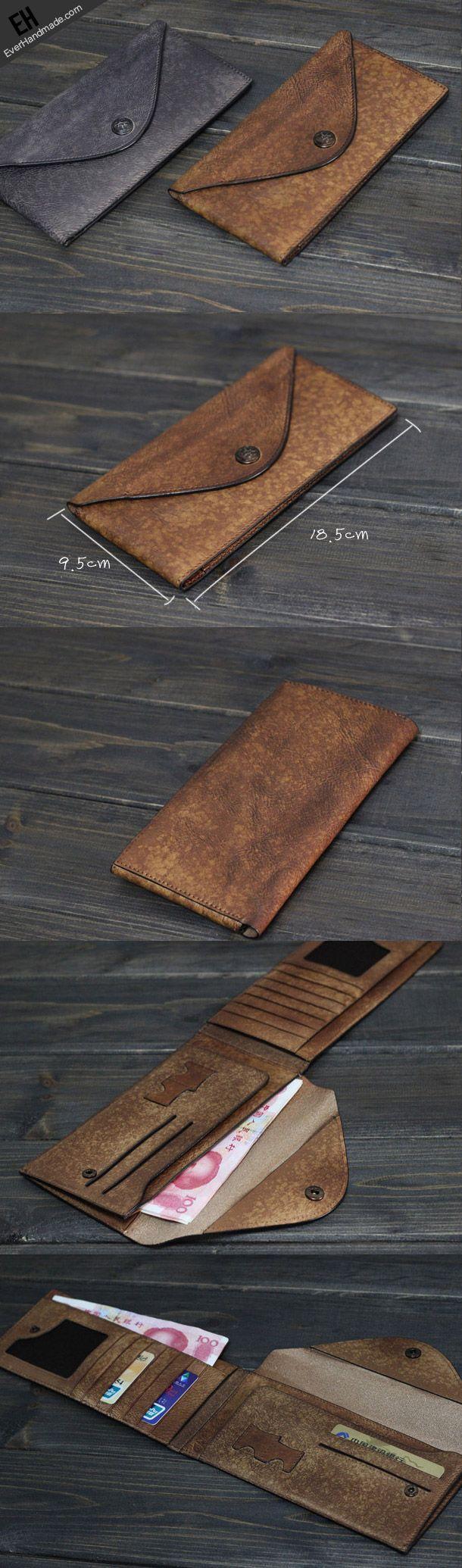 Handmade Men long leather wallet clutch men envelop vintage gray multi cards wallet for him