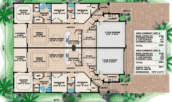 Plan W66175WE: Multi-Family House Plans & Home Designs  about 7 of these should be enough.. With open design. And court yards between the structures.