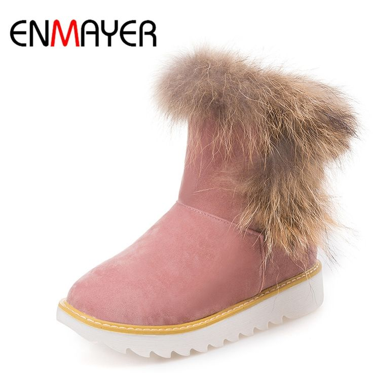 (39.13$)  Buy here  - ENMAYER New Warm Snow Boots With Fur Sweet Lady Shoes Woman Flats Ankle Boots Women Winter Flat Casual Short Boots